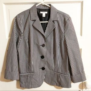 Dress Barn Black & White Pinstripe Blazer - Med